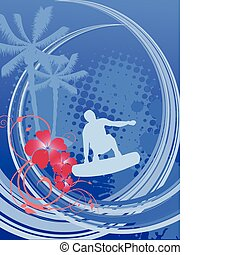 summer time - surfing - illustration of a surfer on an...