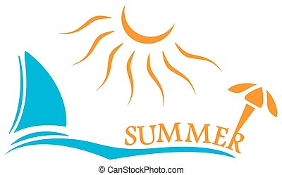 summer time symbol with yacht and sun. sign for advertising...