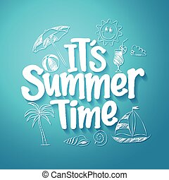 Summer Time Text Title Vector