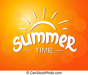 Summer time - typographic design. Hand drawn lettering elements. Eps 10 vector illustration