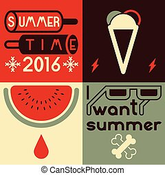 Summer time typographical poster. Vector illustration.