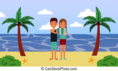 summer time vacations with couple on the beach