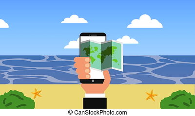summer time vacations with ecommerce in smartphone , 4k...