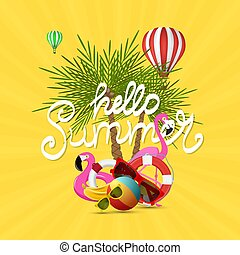 Summer time vector banner design and colorful beach elements