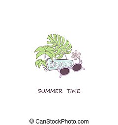 Summer time vector concept with sunglasses, green palms, flovers