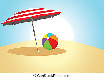 Summer Time - Vector illustration of a plastic ball and a...