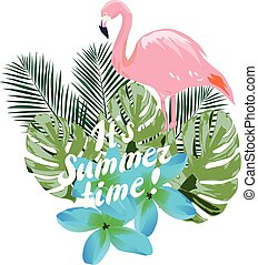 Summer Time - vector summer time flamingo and tropical...