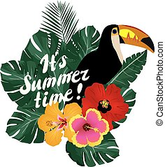 Summer Time - vector summer time with toucan