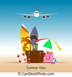 summer time with airplane illustration
