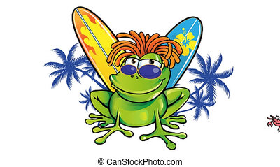summer time with jamaican frog with surfboard