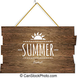 Summer Time Wooden Board, With Gradient Mesh, Vector...