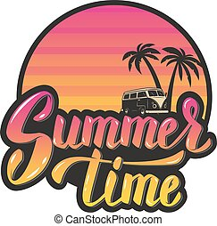 Summer time.Evening sun and palm trees. hand lettering phrase. D