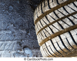 Closer look at the texture of summer tires, which is more expressed at the dirty road.