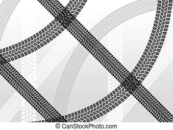 Summer tire tracks colorful pattern illustration collection background vector