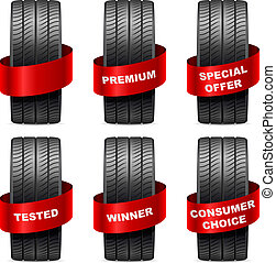 Summer tires with promo red banners isolated on white...