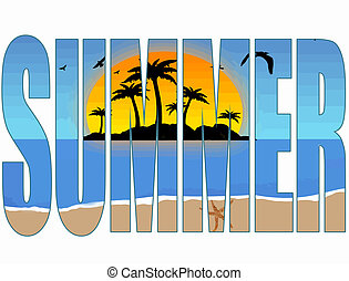 Summer title with a tropical scene in the background, vector illustration