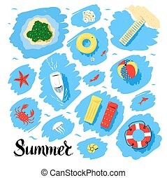 Summer top view vector set