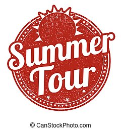 Summer tour stamp - Summer tour grunge rubber stamp on white...