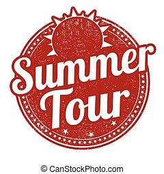 Summer tour stamp - Summer tour grunge rubber stamp on white...