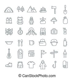 Summer tourism camping thin line flat icons