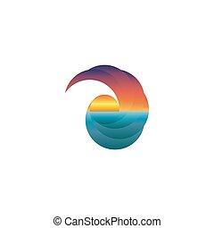 Summer tourism mockup logo, sun at sunset, design travel icon