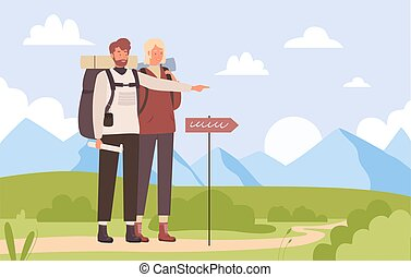 Summer tourist trip, hiking outdoor adventure vector illustration. Cartoon young man hiker character pointing way forward on road through natural landscape, travelers team hike together background