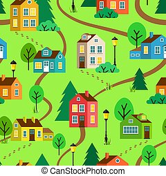 Summer town or village vector seamless pattern
