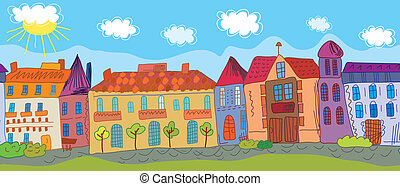 Summer town seamless pattern cartoon