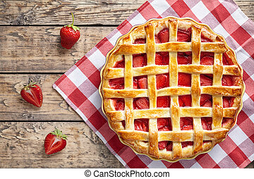 Summer traditional strawberry pie tart cake sweet baked pastry food