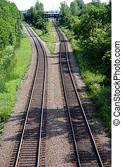 summer train tracks - two sets of train tracks diverge...