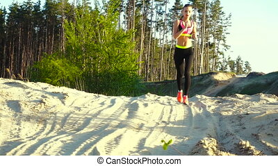 summer training on young athletic girl