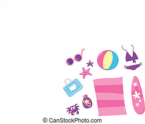 Summer, travel and beach icon set ( pink ) - isolated on white