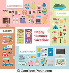 Summer travel and vacation elements