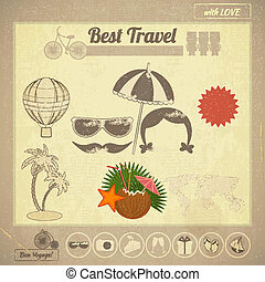 Summer Travel Card in Vintage Style - Summer Travel Card in...