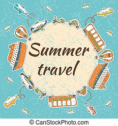 Summer travel card. Summer vacation concept