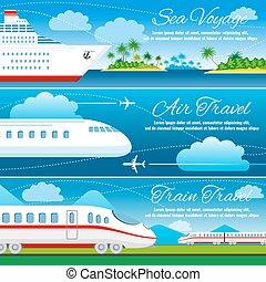 Summer travel horizontal vector banners set