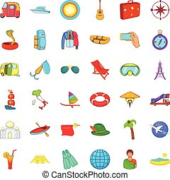 Summer travel icons set, cartoon style