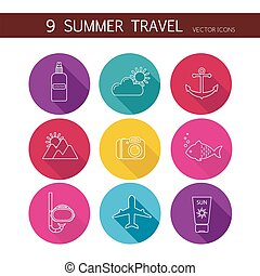 Summer travel icons set vector.