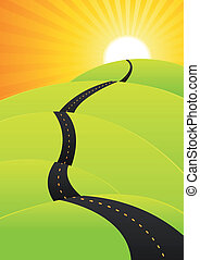 Illustration of a cartoon spring or summer road going to holidays or the top of success