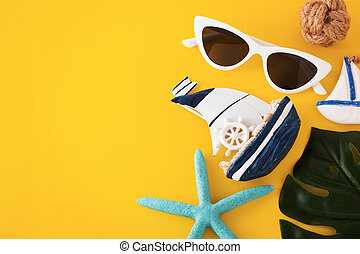 Summer travel on yellow background