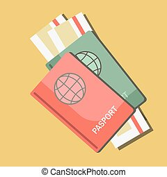 Summer travel or holiday vacation vector passports and tickets