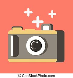 Summer travel or holiday vacation vector photo camera