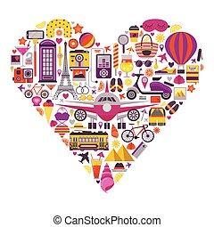 Summer Travel Print in Heart Shape