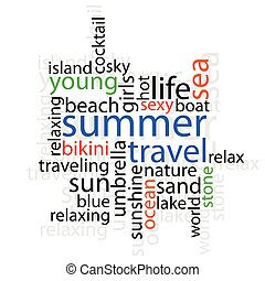 summer travel with word illustration on white background