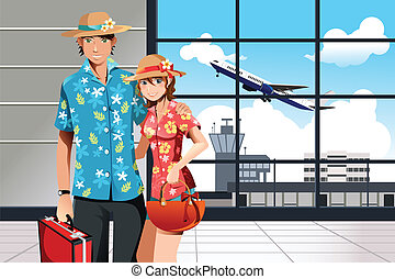 Summer traveling couple