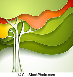 Summer tree. Abstract paper nature