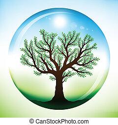 Summer tree inside glass globe