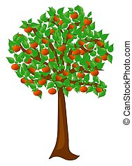 Summer tree with fruits peaches - single tree, object ...