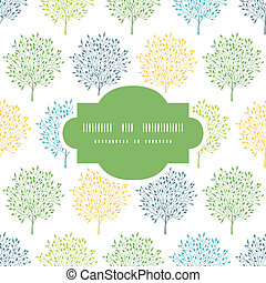 Summer trees colorful frame seamless pattern background