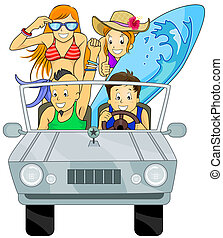 Summer Trip - Illustration Featuring a Group of Teenagers on...